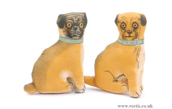 3002: Deans Miller Collection 2 x Cloth Pug Dogs 1917
