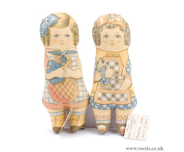 3024: Deans Miller Collection 2 x Pinafore Dolls 1917