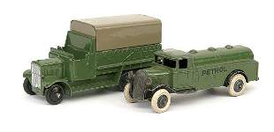 Dinky A pair - 6-wheeled Covered Wagons
