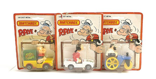 "1017: Matchbox a group of 3 ""Popeye"""