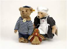 1617: A Steiff rep. 1907 Classic bear plus two more