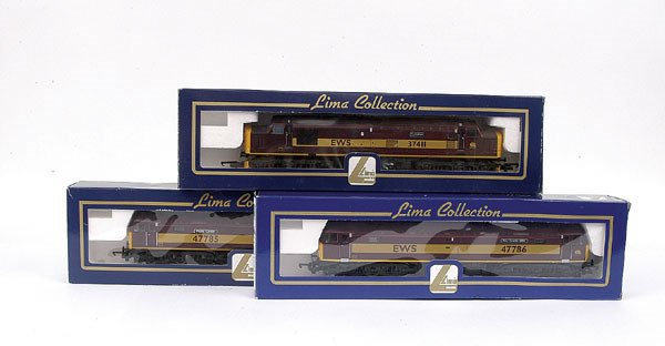 3006: Lima - 3 x Co-Co EWS maroon Diesel Locos