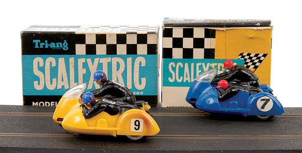 3: Scalextric No.B1 Typhoon Motorcycle and Sidecar