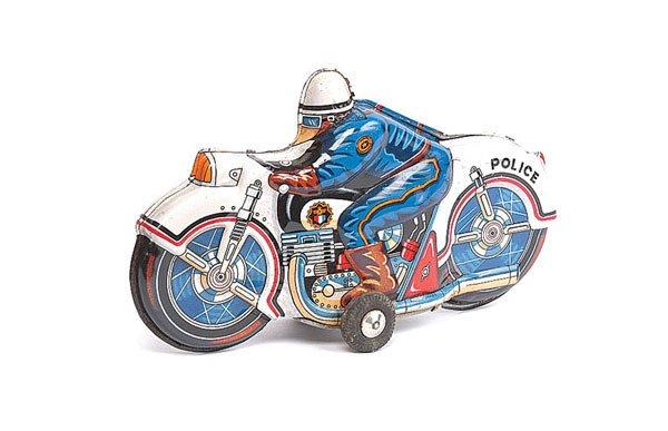 1011: Japanese (Japan) Tin Friction Police Motor Bike