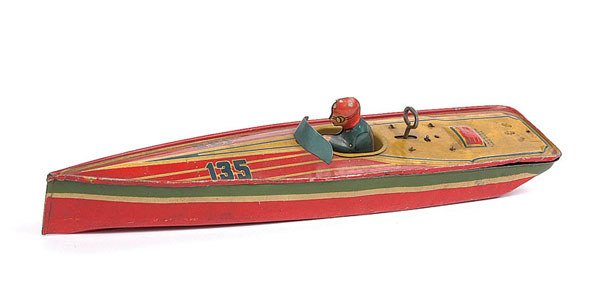 1018: Lindstrom Tin Clockwork Speedboat