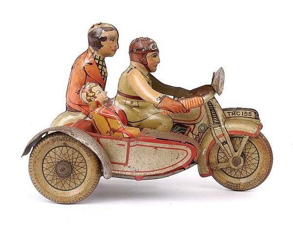 3100: Mettoy Tinplate Motorcycle & Sidecar with Rider