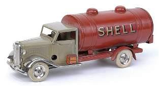 Minic - 15M Petrol Tanker - beige cab + red tank