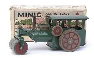 Minic - 33M - Steam Roller - green+wooden wheels