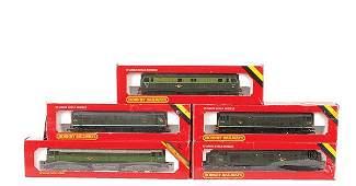 4143: A Group of Hornby Railways BR Green Diesel Locos