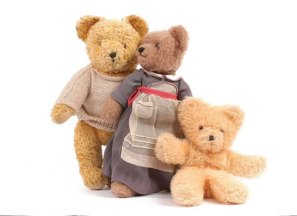 1015: Beige Wool Plush Teddy Bear
