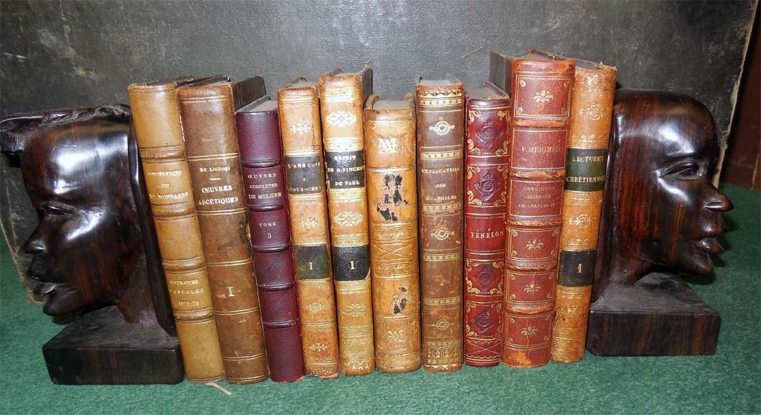 10 Leather books from the 1800's in French