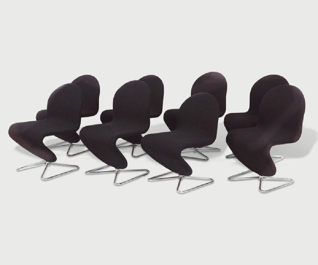 Set of Eight 1-2-3 Verner Panton Chairs.