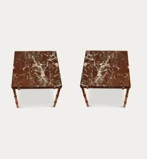 Pair marble side tables.