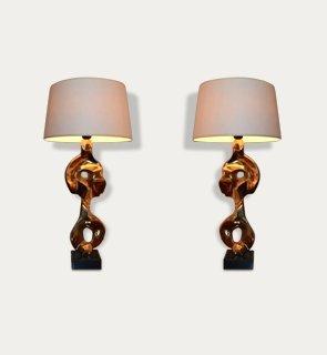 Pair bronze table lights