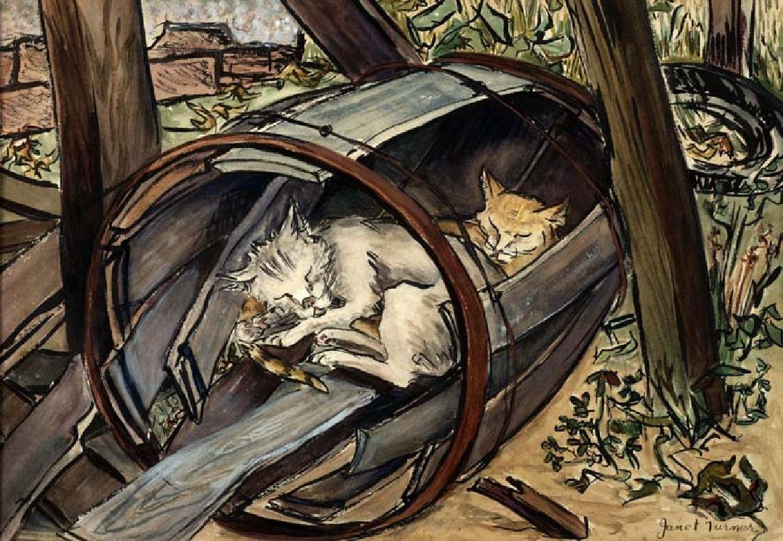 Janet Turner (Am. 1914-1988), Two Cats, watercolor on