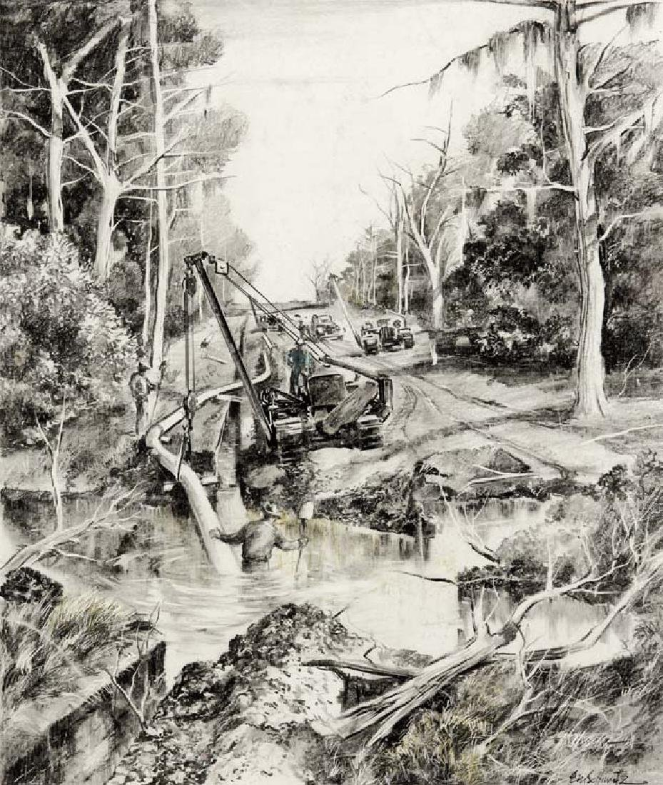 E.M. Buck Schiwetz (Am. 1898-1984), Laying Oil Pipeline
