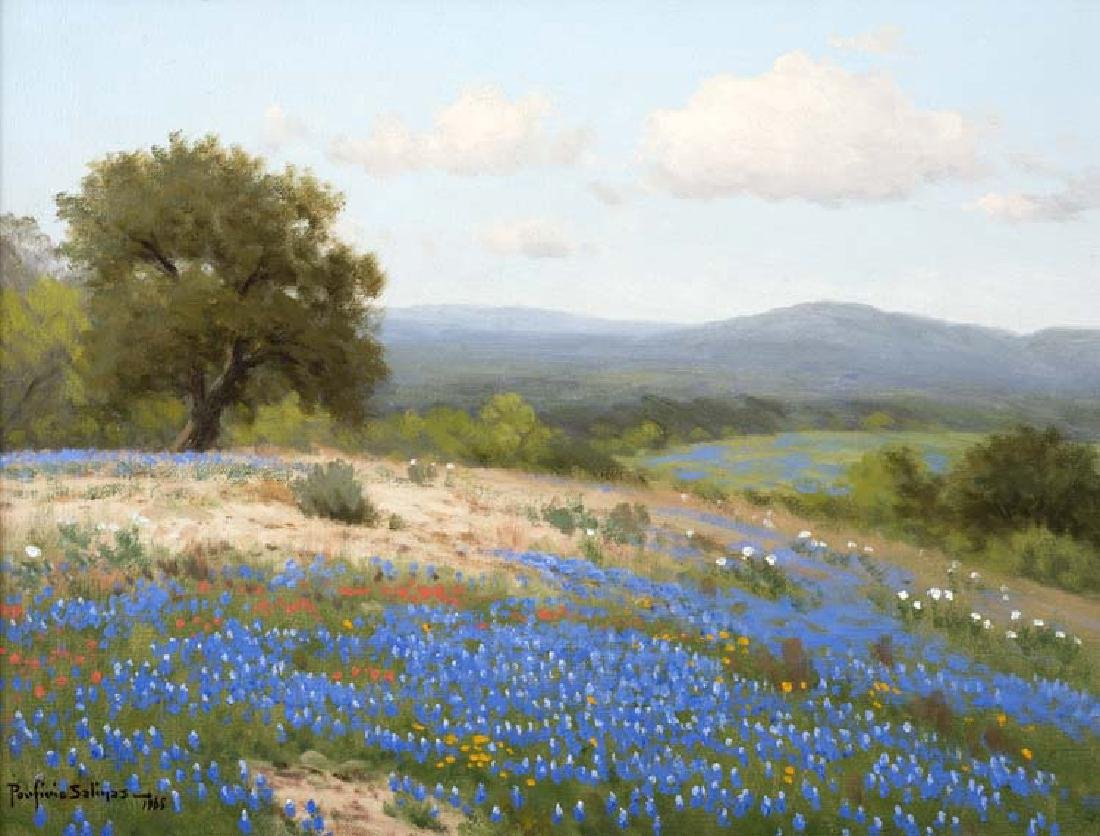 Porfirio Salinas (Am. 1910-1973), Bluebonnets, oil on