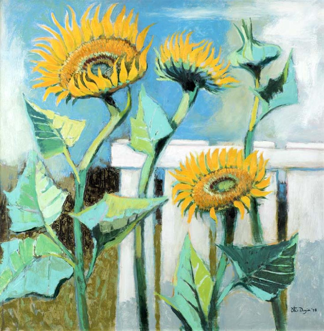 Otis Dozier (Am. 1904-1987), Sunflowers, oil on canvas