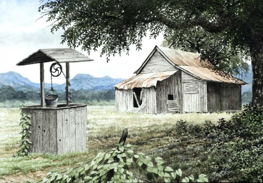 Walt Cude (Am. 20th Cent.), Texas Idyll, watercolor on