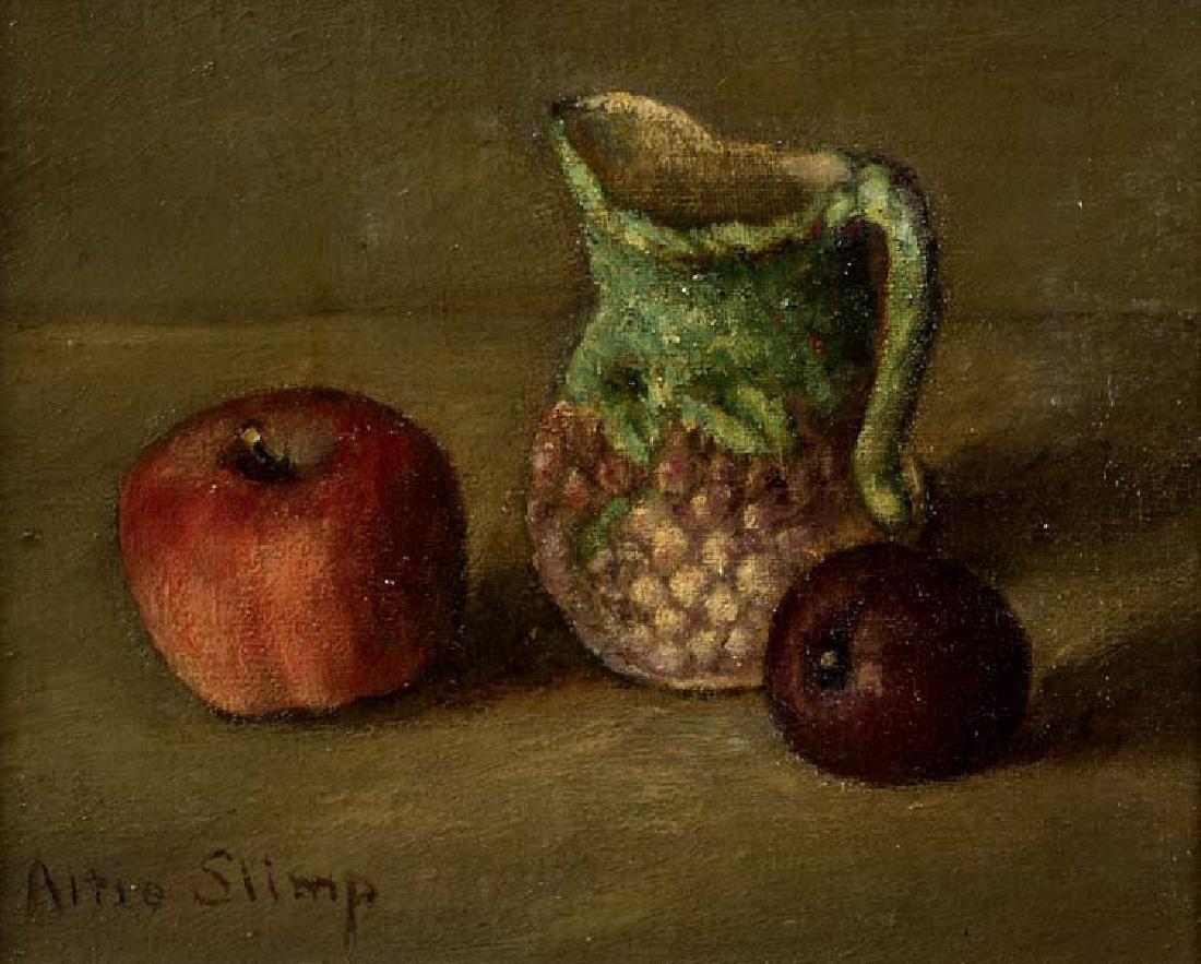 Altie Slimp (Am. 1896-1966), Pitcher, Plum Pear, oil on