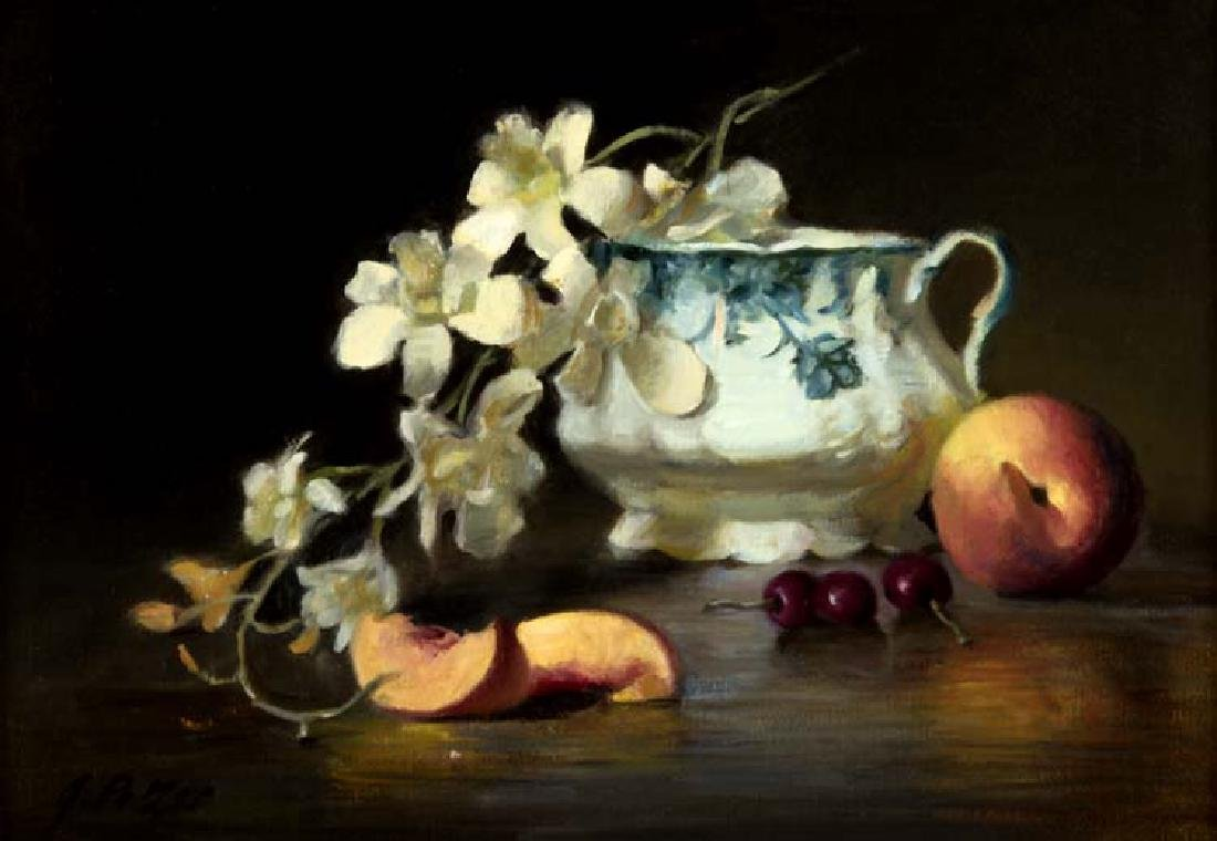 Joan  Potter (Am. 1935-), A Stem of Orchids, oil on