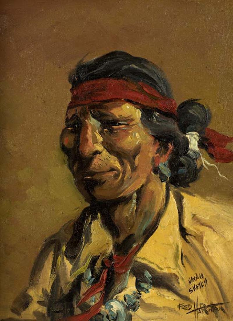 Fred Harman (Am. 1902-1982), Navajo Sketch, oil on
