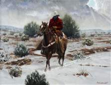 Roy Lee Ward Am 19412015 Rider in the Snow oil on