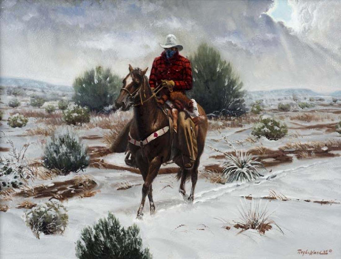 Roy Lee Ward (Am. 1941-2015), Rider in the Snow, oil on