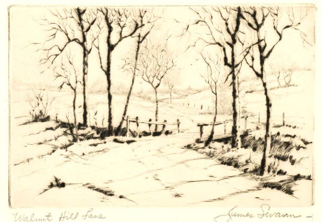James Swann  (Am. 1905-1985), Walnut Hill Lane, etching