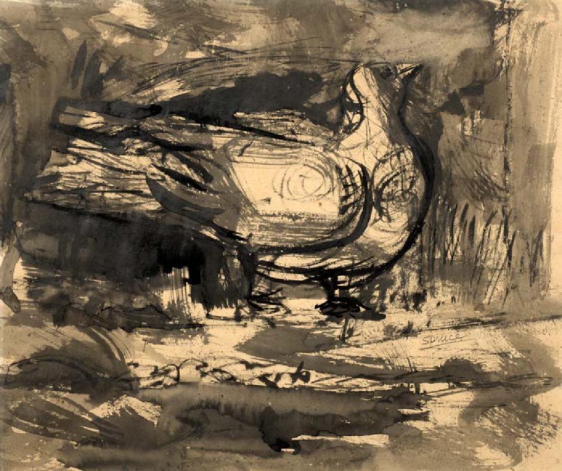 Everett Spruce (Am. 1908-2002), Night Bird, pen and ink