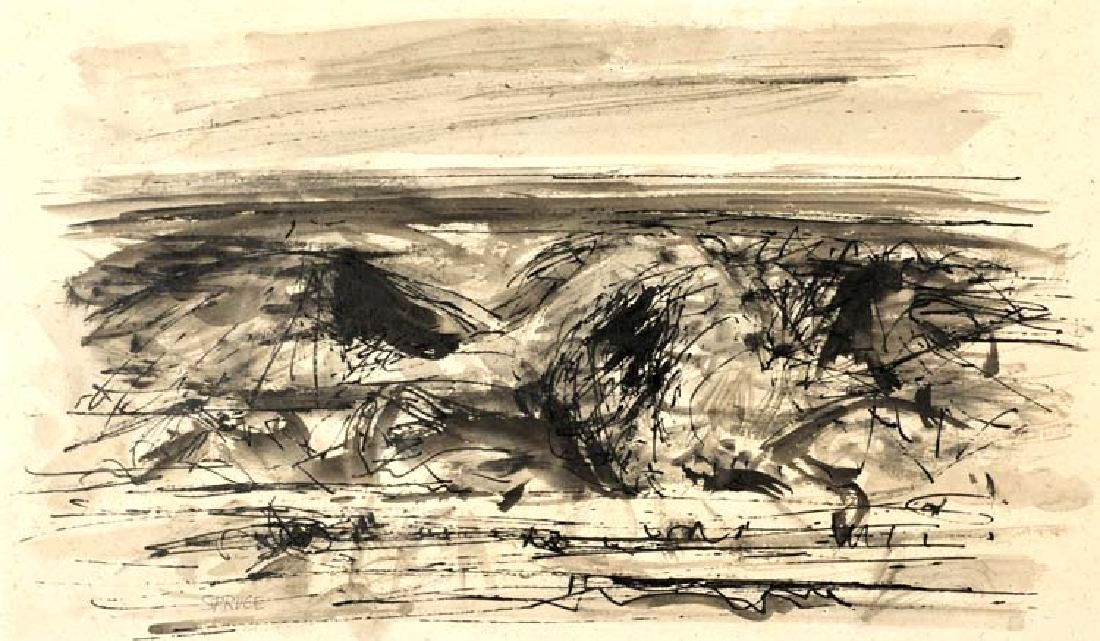 Everett Spruce (Am. 1908-2002), Surf, pen and ink on
