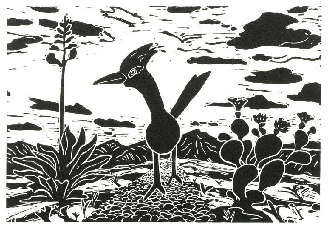 Avery Kelly (Am. 20th Cent.), Roadrunner, 2018, woodcut