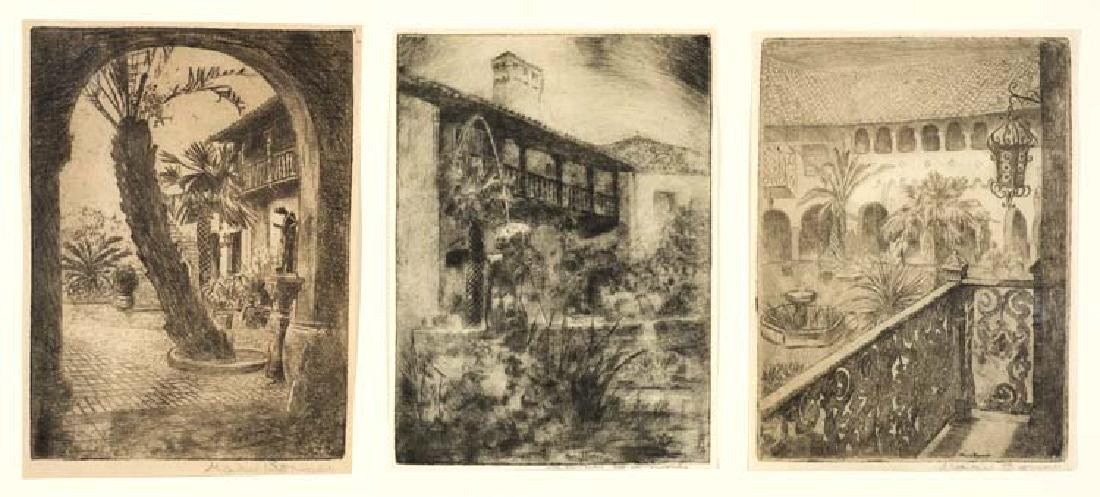 Mary Bonner (Am. 1887-1935), Three Etchings, etching