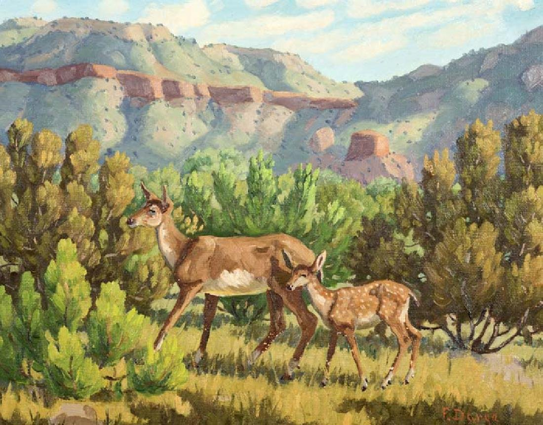 Fred Darge (Am. 1900-1978), Deer in Palo Duro Canyon,