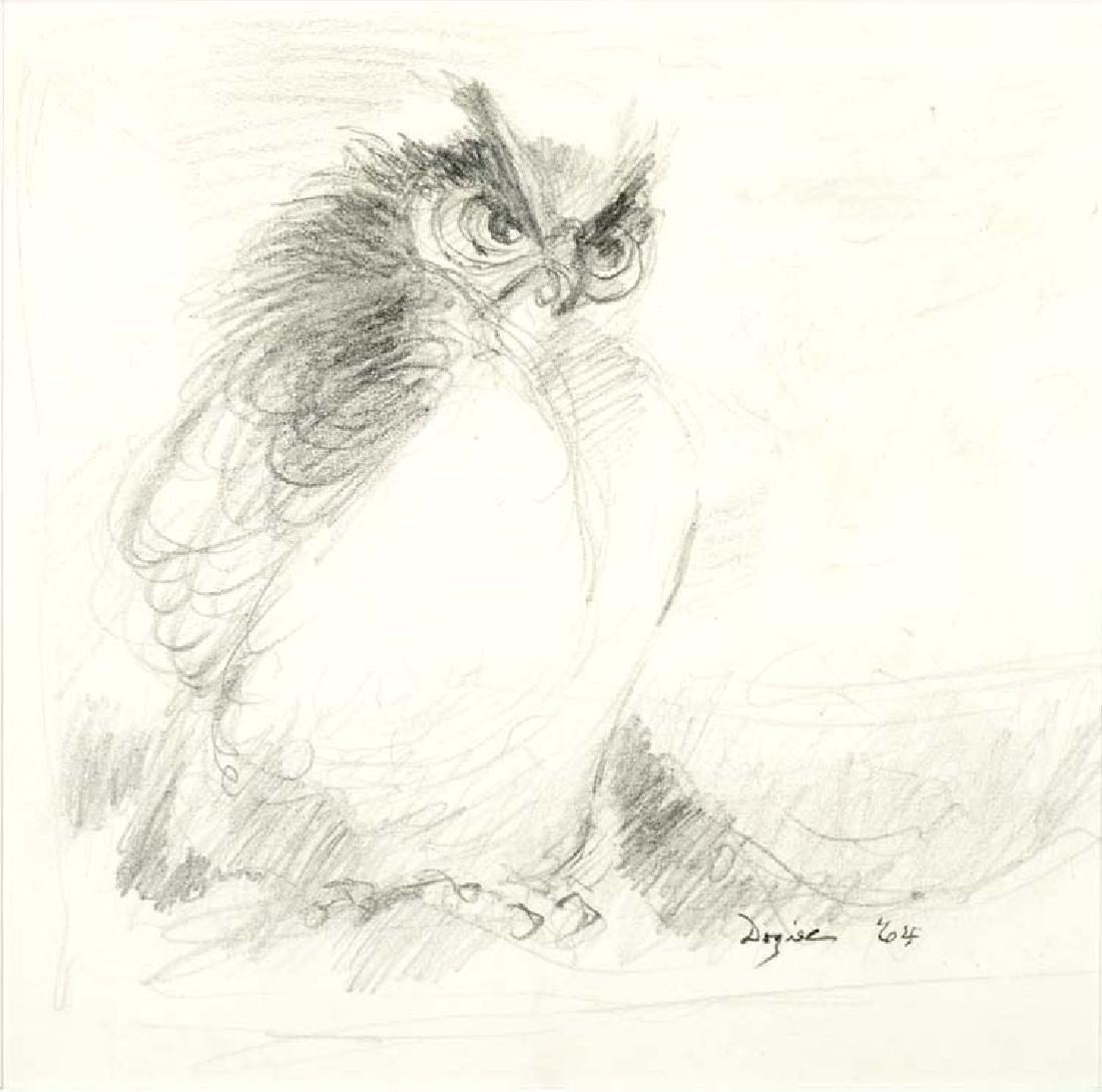 Otis Dozier (Am. 1904-1987), Owl, pastel on paper