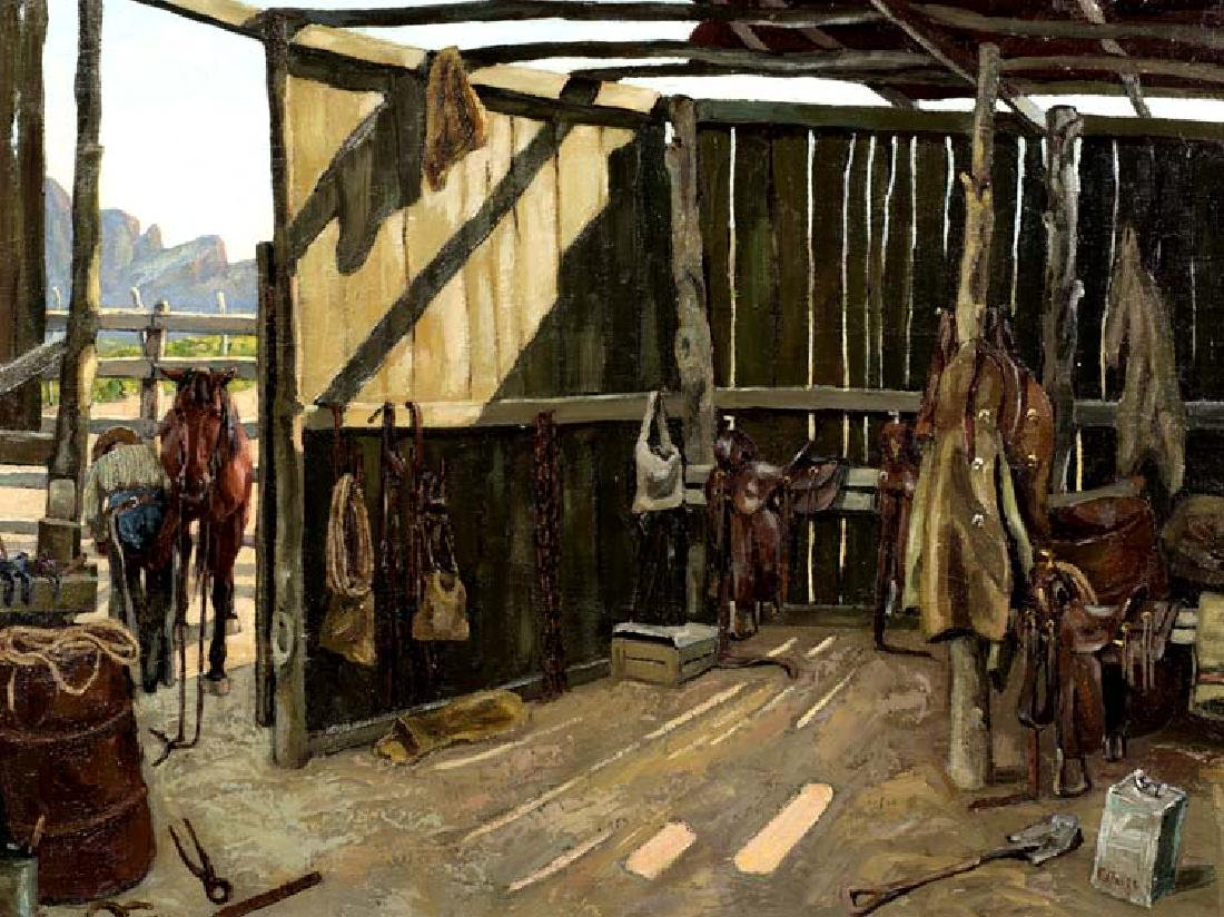 Fred Darge (Am. 1900-1978), Tack House, oil on canvas