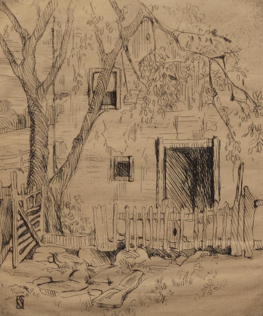 Sallie Gillespie (Am. 1898-1991), Cottage Gate, etching