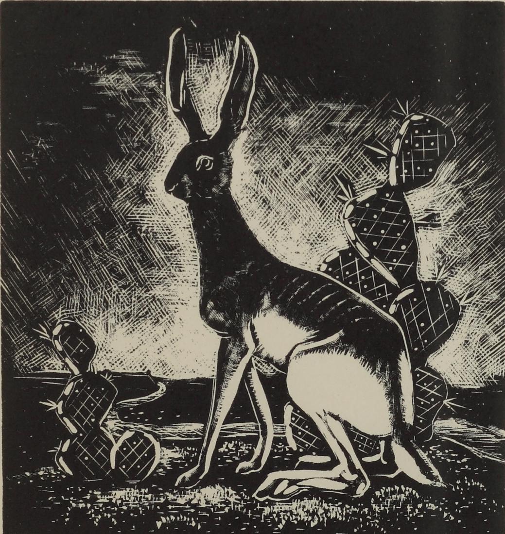 Otis Dozier (Am. 1904-1987), Jackrabbit, woodblock