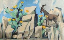 Otis Dozier (Am. 1904-1987), Goat and Cactus, 1987, oil