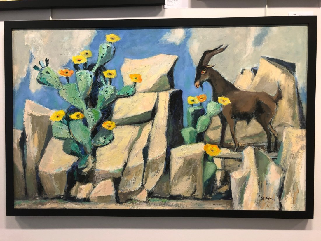 Otis Dozier (Am. 1904-1987), Goat and Cactus, 1987, oil - 2