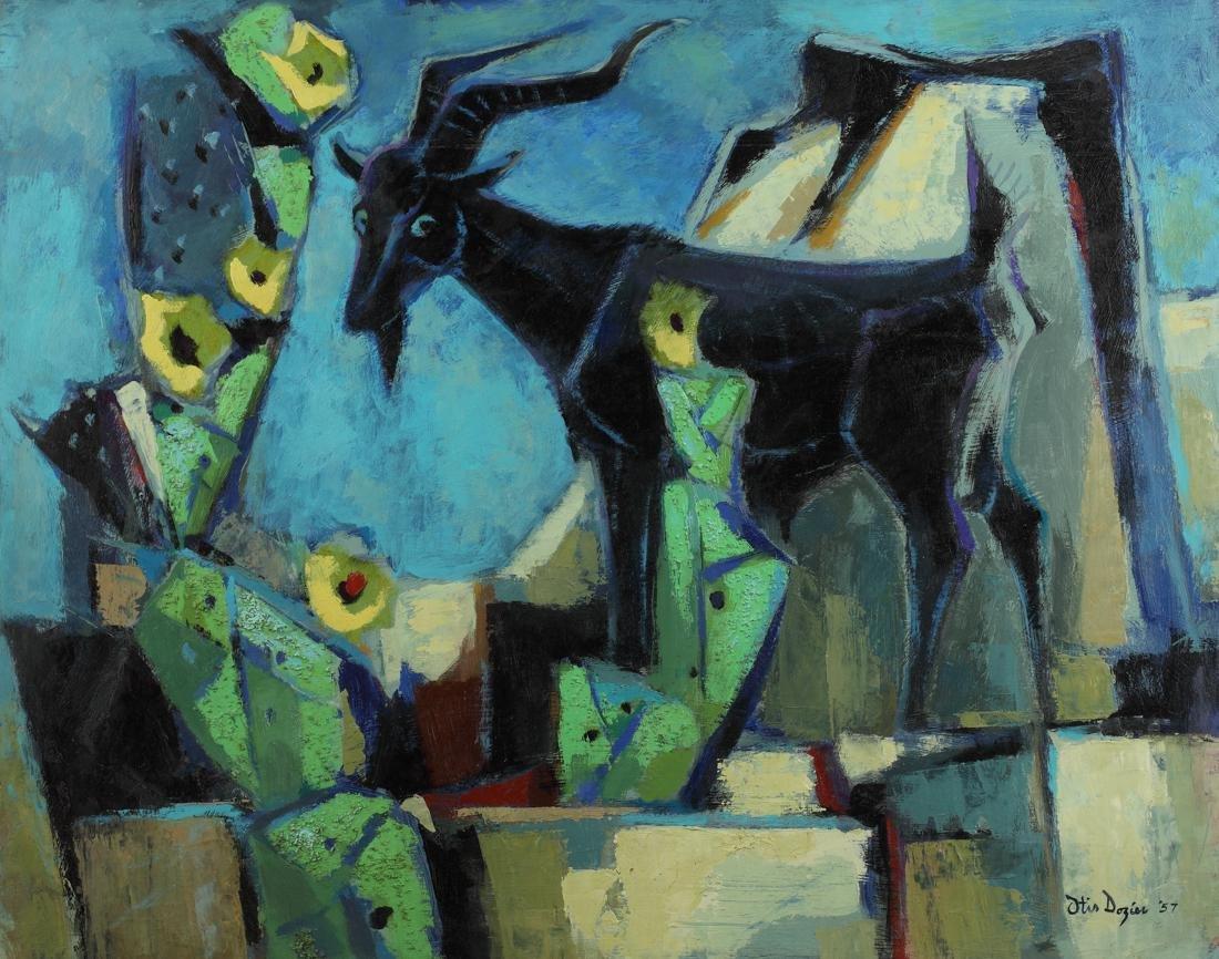 Otis Dozier (Am. 1904-1987), Blue Goat, 1957, oil on