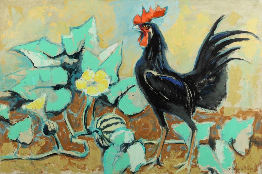 Otis Dozier (Am. 1904-1987), Rooster, 1979, oil on