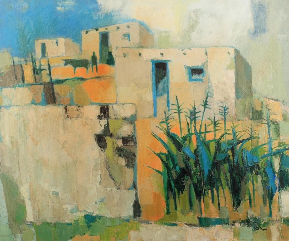 Otis Dozier (Am. 1904-1987), Home in the Hills, oil on