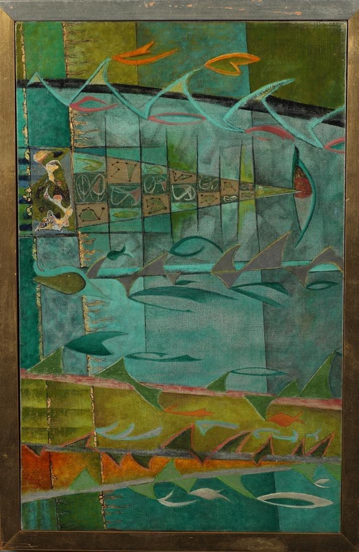 Bill Bomar (Am. 1919-1991), Scoreboard, oil and gold