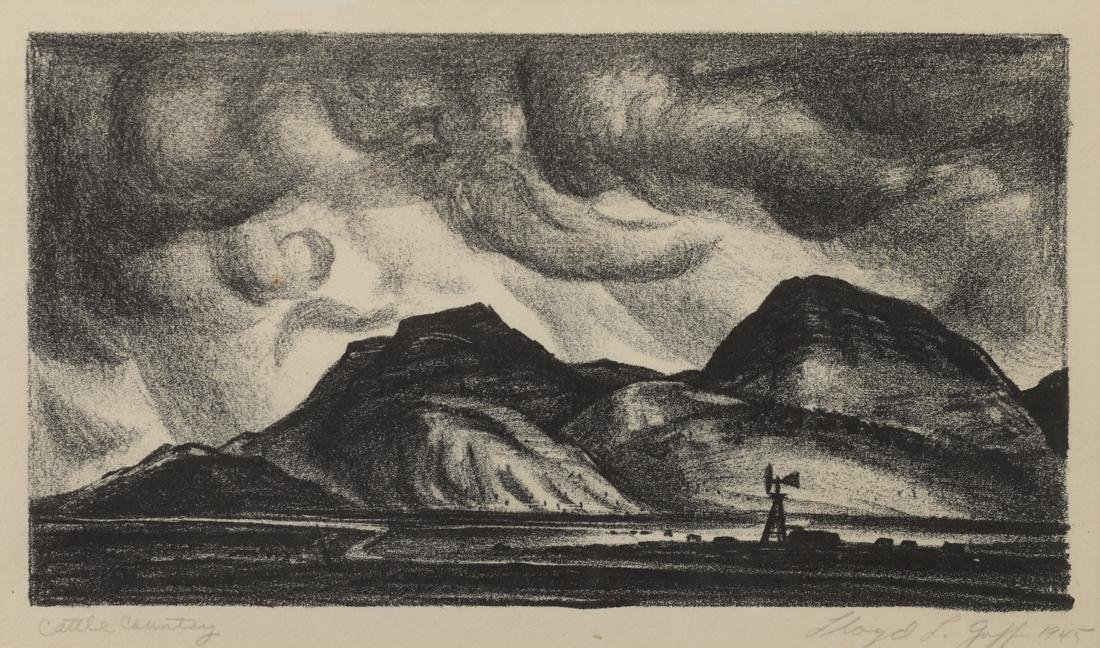 Lloyd Goff (Am. 1908-1982), Cattle Country , lithograph