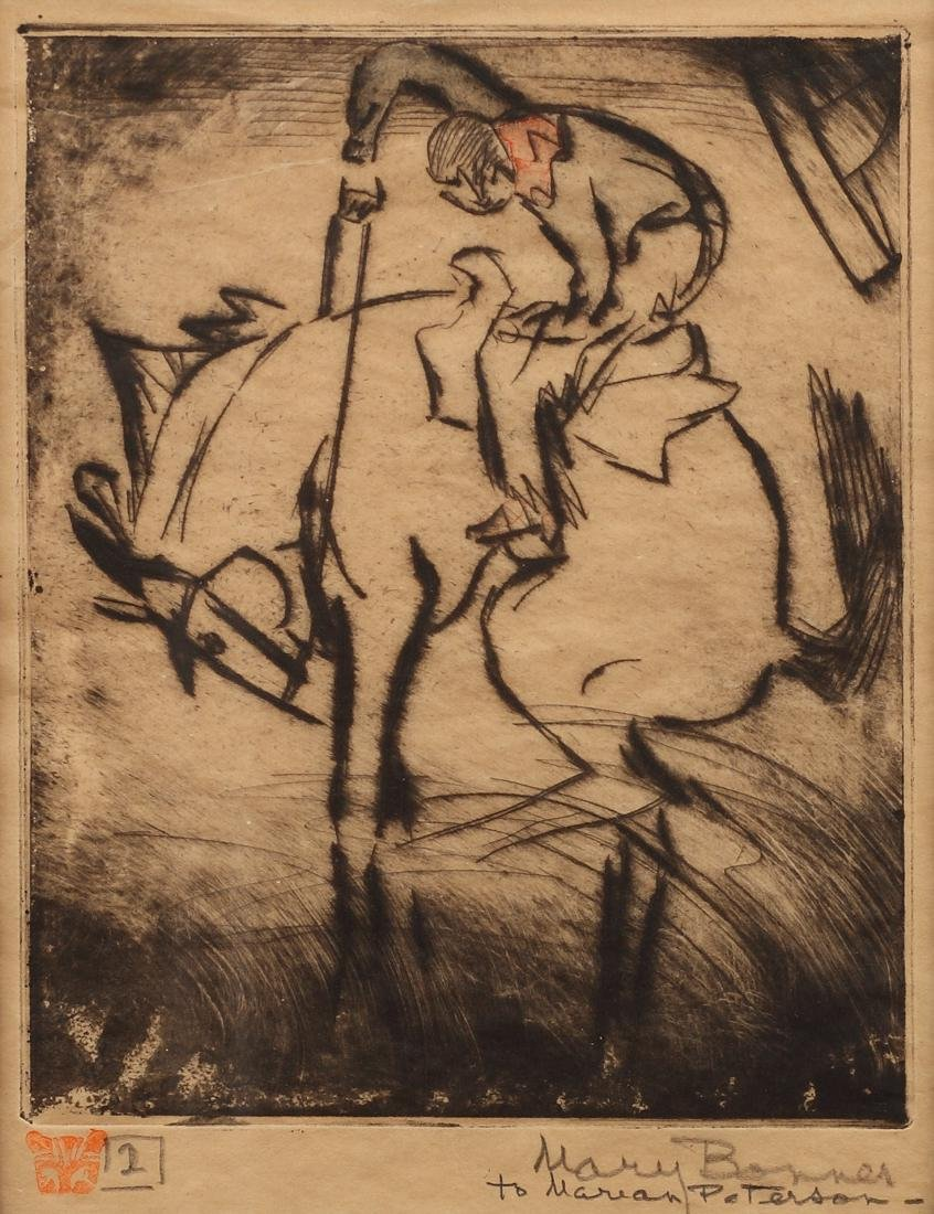 Mary Bonner (Am. 1887-1935), Bronco and Rider, etching