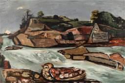 Everett Spruce (Am. 1908-2002), Riverbird, oil on