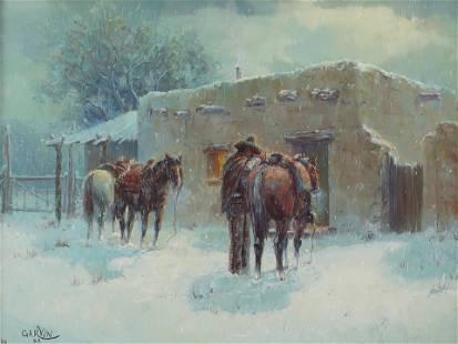 Barbara Garvin (Am. Bn. 1936-), Snowlight, oil on