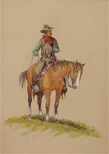 William Zivic (Am. Bn. 1930-), A Top Hand, 1977, ink