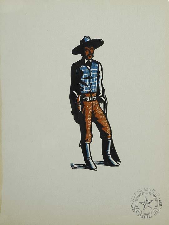 7: 3 Prints: Smoking Cowboy, Indian & Gaoucho with Gun